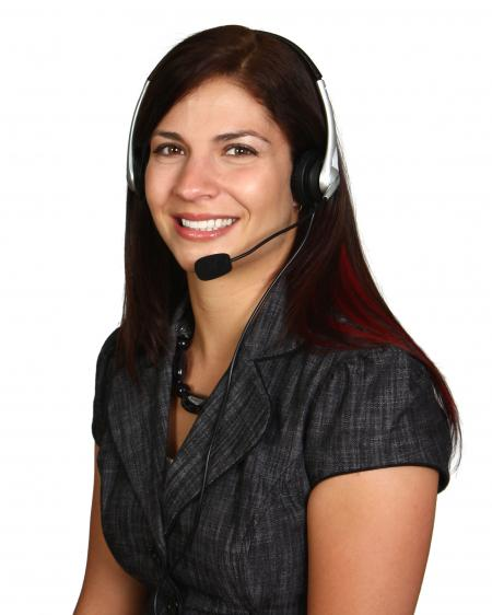A Beautiful Call Center Woman Isolated