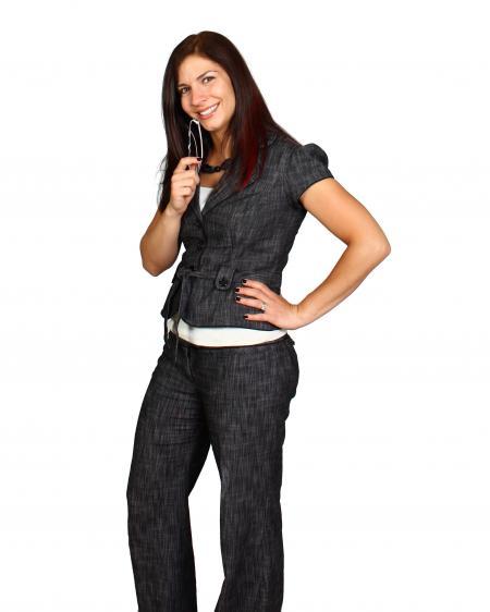 A beautiful young business woman posing