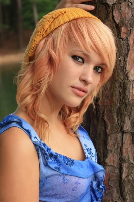 A beautiful young woman posing