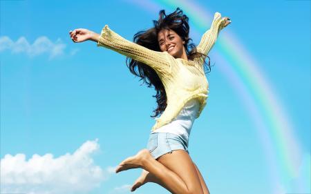 a rejoicing girl