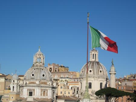 A view in Rome and an Italian flag