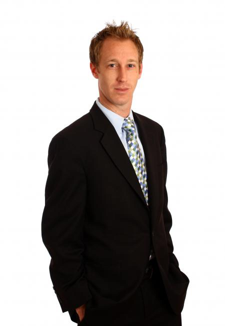 A young businessman in a suit