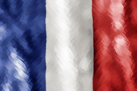 Abstract Paint Stroked Flag - France