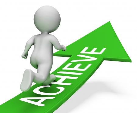 Achieve Arrow Means Achieving Success 3d Rendering