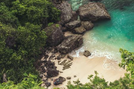 Aerial View of Seashore Near Large Grey Rocks
