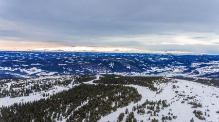 Aerial winter landscape, Ski resort in the mountains