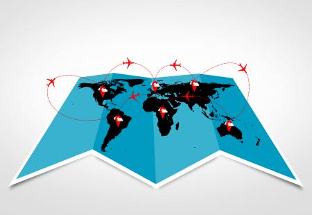 Air travel and logistics concepts - Sky routes across the continents