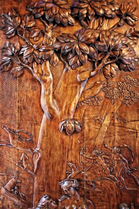 Antique Carved Wood Door - Hunting Scene