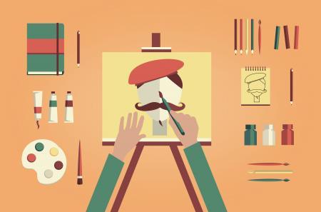 Artist painter painting self-portrait