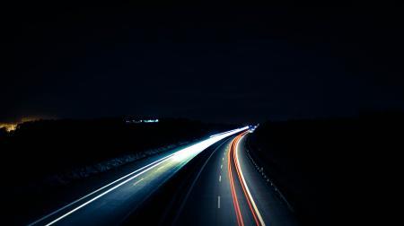Autobahn at night