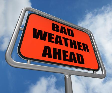 Bad Weather Ahead Sign Shows Dangerous Prediction