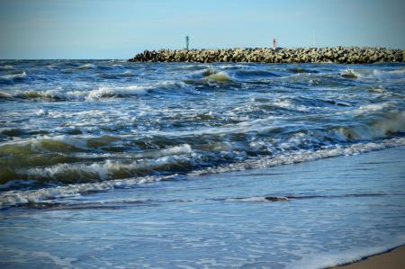 Baltic Sea coast with waves and a breakwater