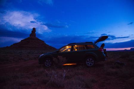 Black 5-door Hatchback during Nighttime
