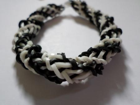 Black and white spiral loom bracelet