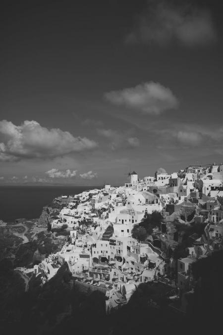black and white town