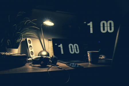 Black Digital Alarm Clock at 1:00
