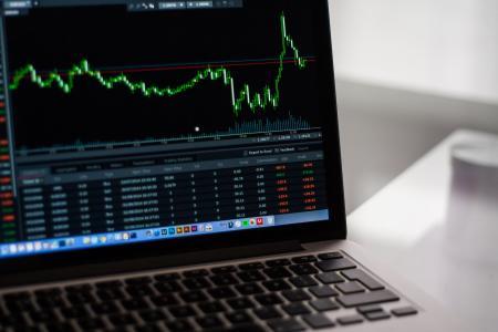 Black Laptop Computer Showing Stock Graph