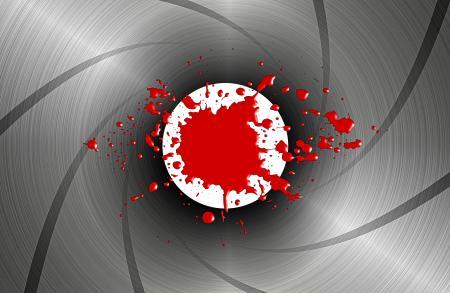 Blood spatter down the barrel of a gun - James Bond-style