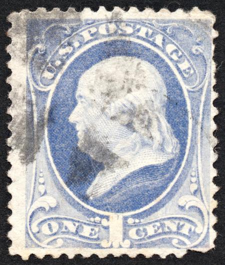 Blue Benjamin Franklin Stamp