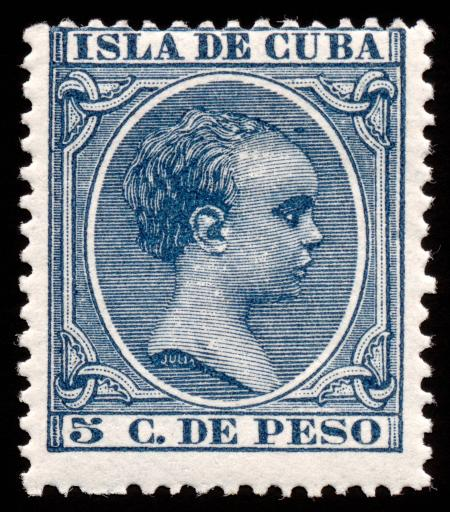 Blue King Alfonso XIII Stamp