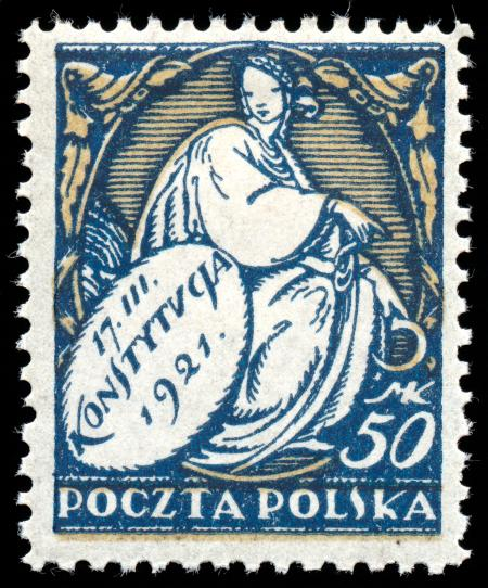 Blue New Constitution Stamp