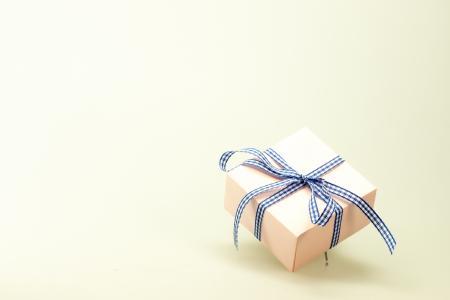 Blue White Ribbon on Pink Box