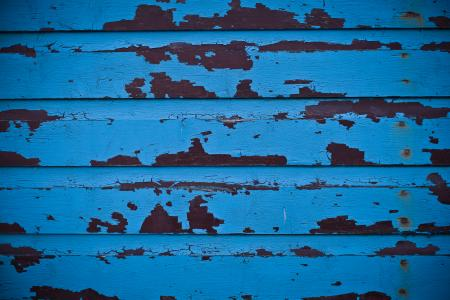 Blue Wooden Peeled Paint Wall