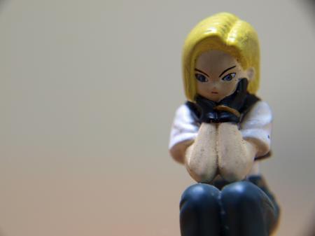 Bored girl, macro toy