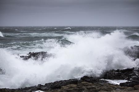 Breaking waves winter storm, Oregon Coast
