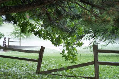 Broken fence in Fog