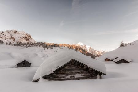 Brown Wooden Houses Covered in Snow at Daytime