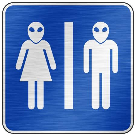 Brushed Metal Sign - Alien Toilet