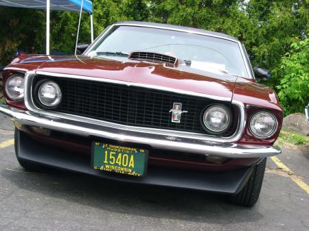 Burgundy Ford Mustang