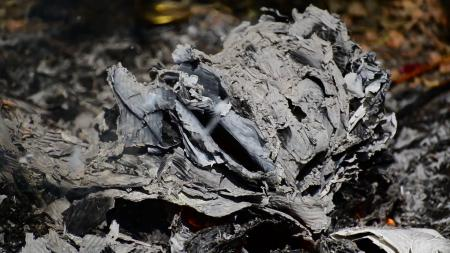 Burnt paper ashes