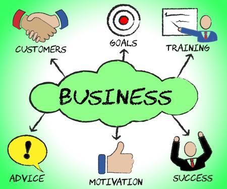 Business Symbols Indicates Icon Commerce And Corporation