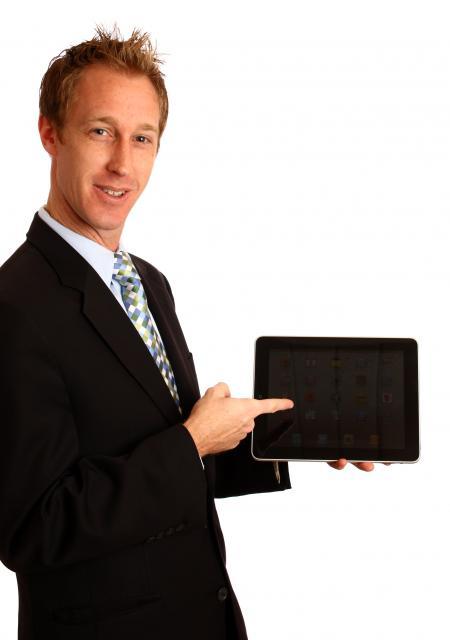 Businessman holding a tablet computer