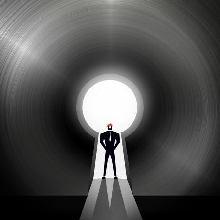 Businessman through the keyhole - Creative solutions concept