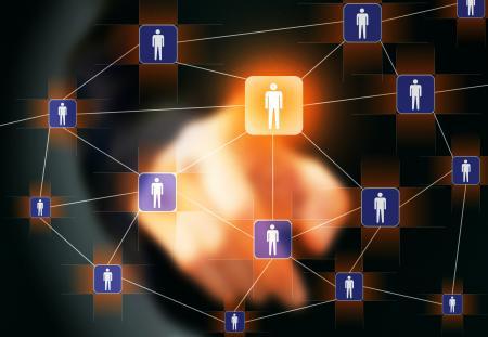 Businessman touching virtual social netw