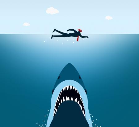 Businessman Under Shark Attack - Jaws