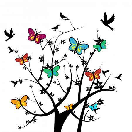 Butterflies In Tree Indicates Natural Environment And Nature