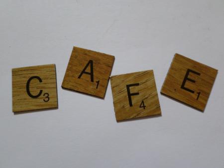 Cafe scrabble style tiles