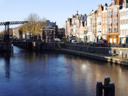 Cana water in sunlight and shadow reflections, Amsterdam city.