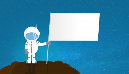 Cartoon Astronaut Holding Blank Flag - With Copyspace