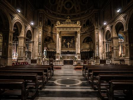 Cathedral Interior Religious With Benches Empty in Back