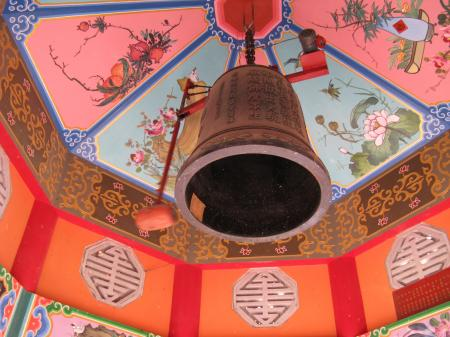 Ceiling bell in Asian temple