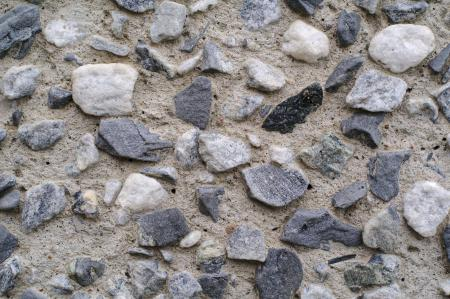 Cemented gravel wall close-up