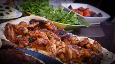 Chicken Grill on White Tray Near Green Leaf Vegetable Food