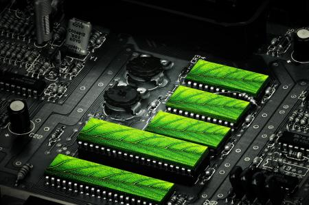 Clean Technologies - Motherboard and Green Leaves