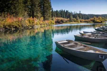 Clear Lake, Oregon, Autumn, Row Boats