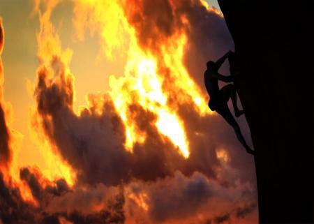 Climber at sunset